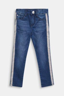 Jeans with glittering side stripes, DARK INDIGO DE, detail