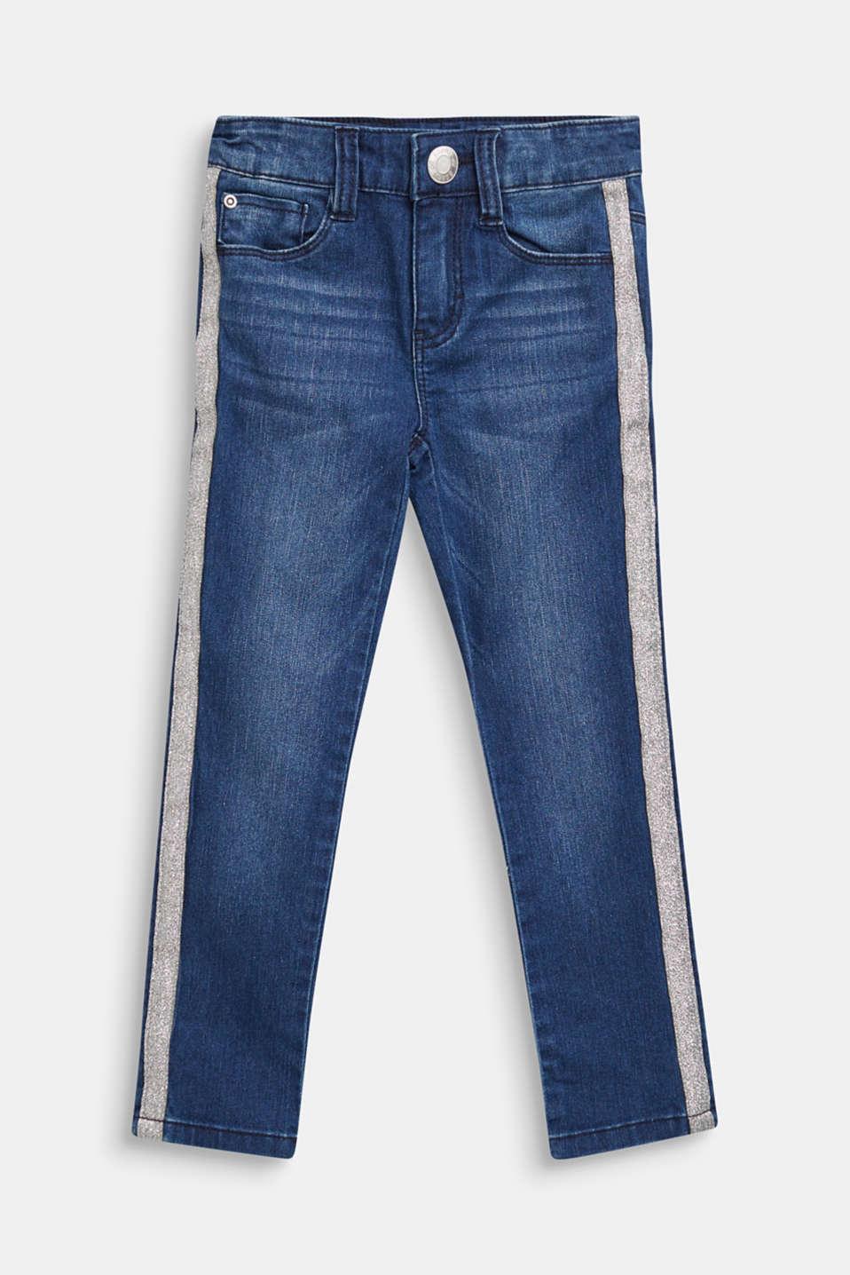 Jeans with glittering side stripes, DARK INDIGO DE, detail image number 0