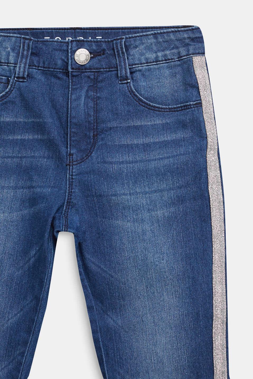 Jeans with glittering side stripes, LCDARK INDIGO DE, detail image number 2