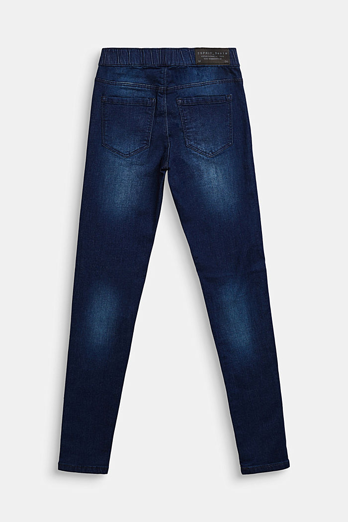Super stretchy jeggings with a washed-out look, DARK INDIGO DENIM, detail image number 1