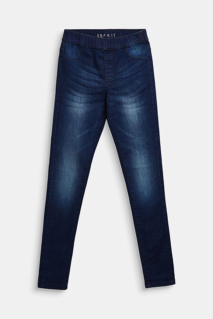 Super stretchy jeggings with a washed-out look, DARK INDIGO DENIM, detail image number 0