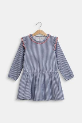 Dress with frills, 100% cotton, MARINE BLUE, detail