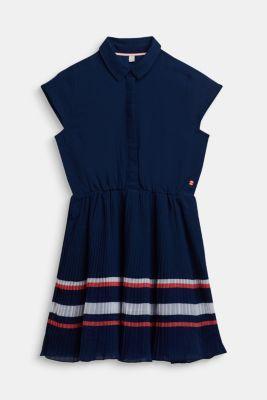 Plissé dress in chiffon, LCMARINE BLUE, detail