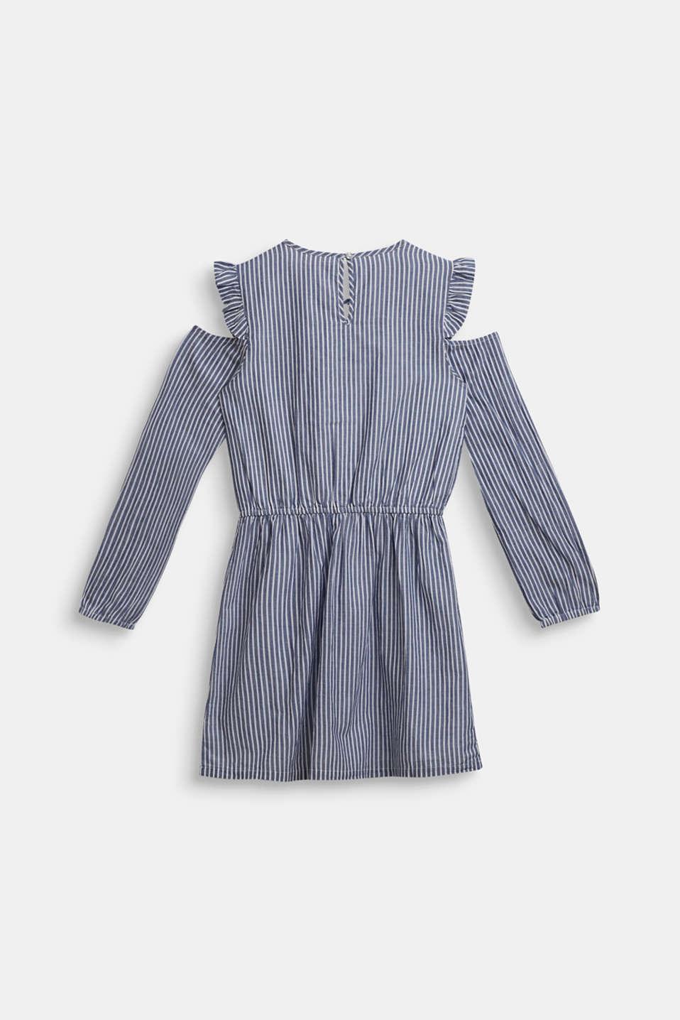 Cold-shoulder dress, 100% cotton, LCMARINE BLUE, detail image number 1