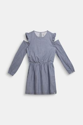 Cold-shoulder dress, 100% cotton, LCMARINE BLUE, detail