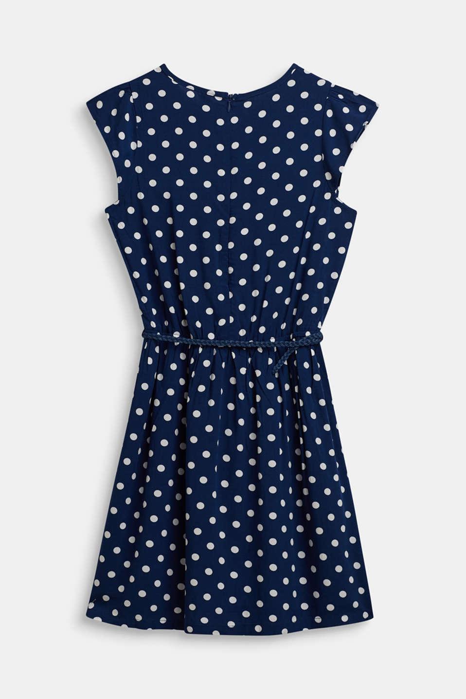 Polka dot dress with braided belt, LCMARINE BLUE, detail image number 1