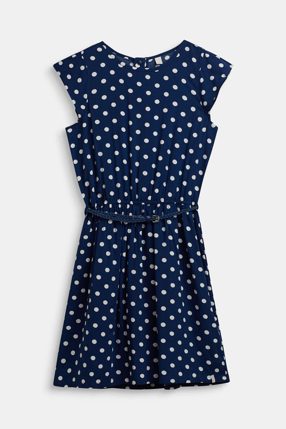 Esprit - Polka dot dress with braided belt