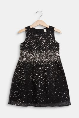 Tulle dress with sequins and cotton lining, BLACK, detail