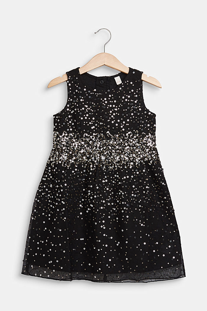 Tulle dress with sequins and cotton lining, BLACK, detail image number 0