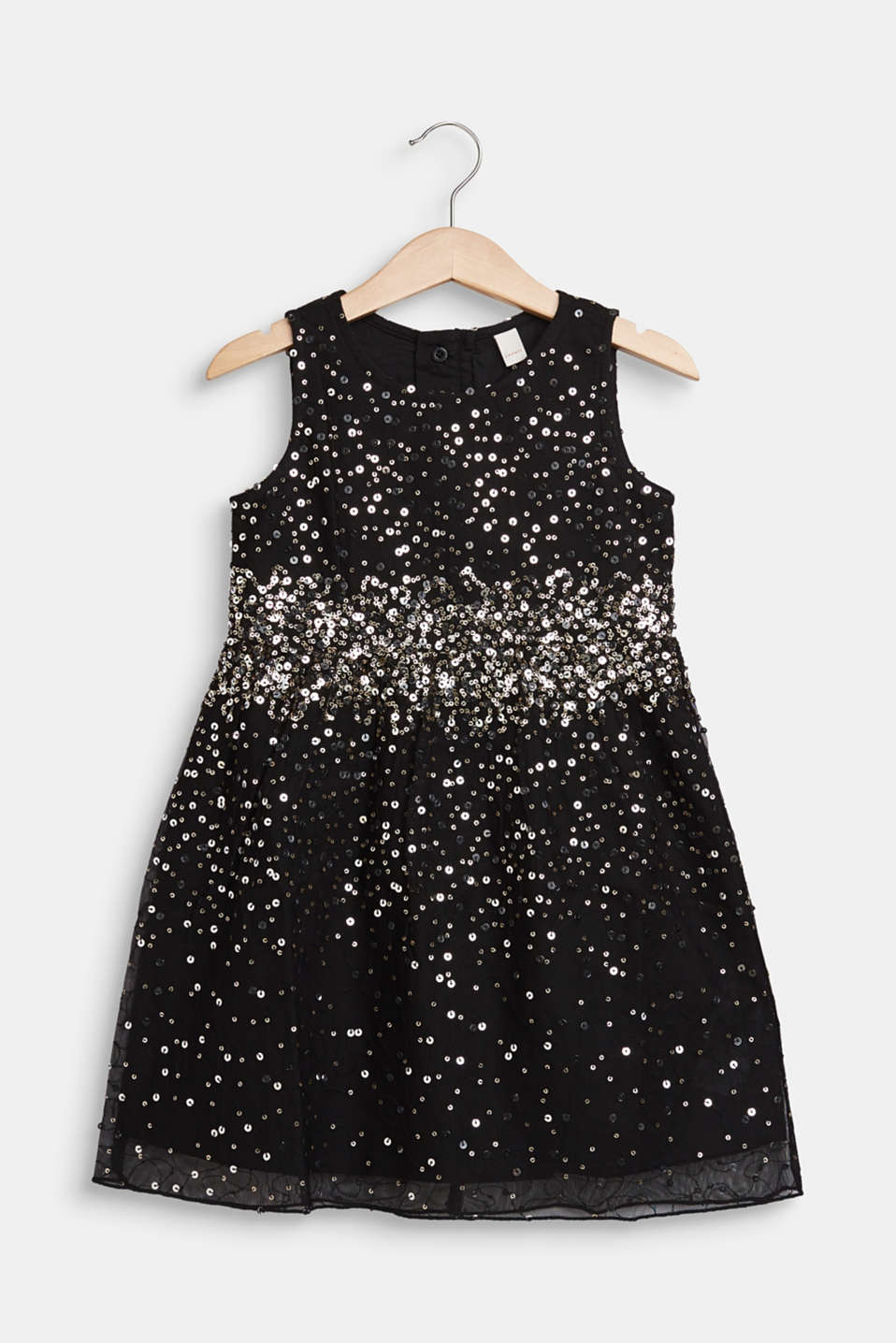 Tulle dress with sequins and cotton lining