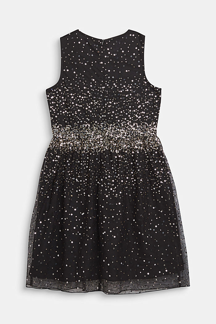 Tulle dress with sequins and cotton lining, BLACK, detail image number 1