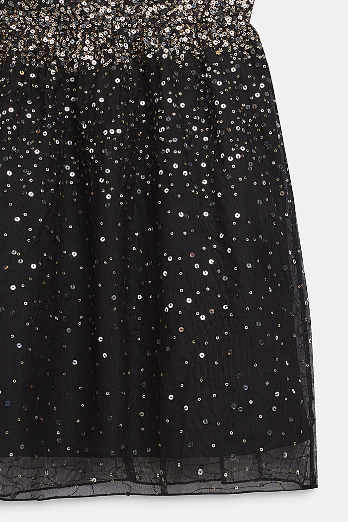 Tulle dress with sequins and cotton lining, BLACK, detail image number 2