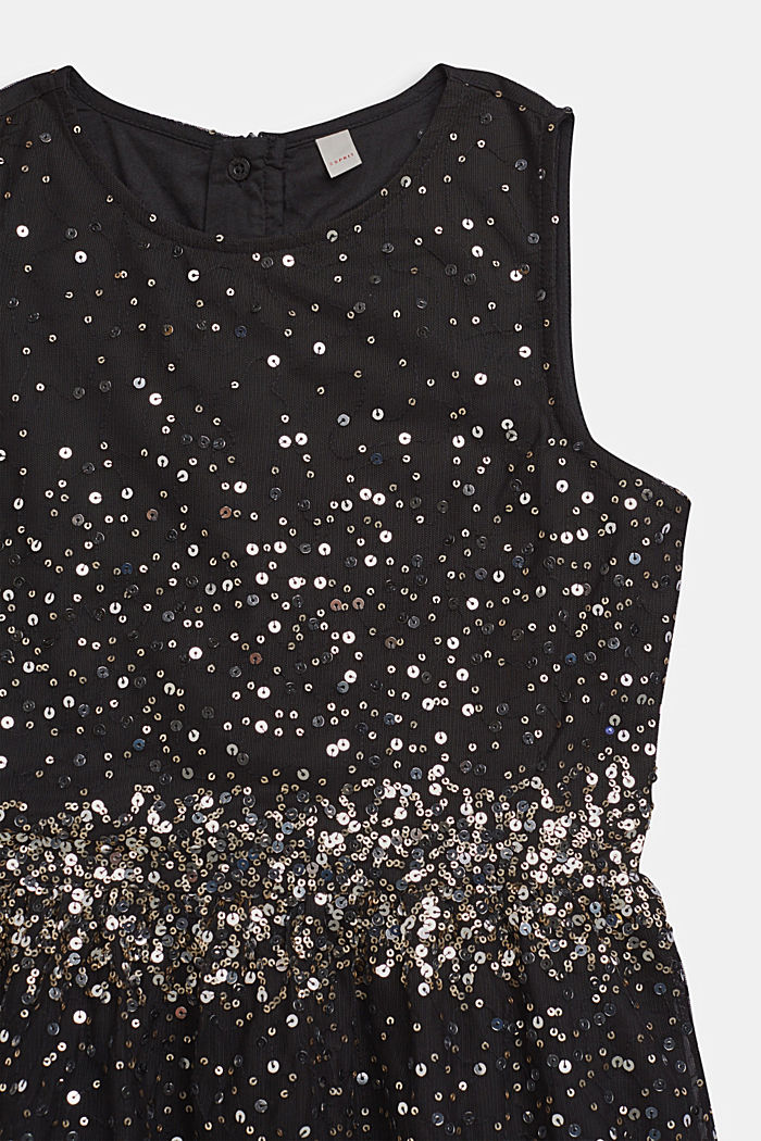 Tulle dress with sequins and cotton lining, BLACK, detail image number 3
