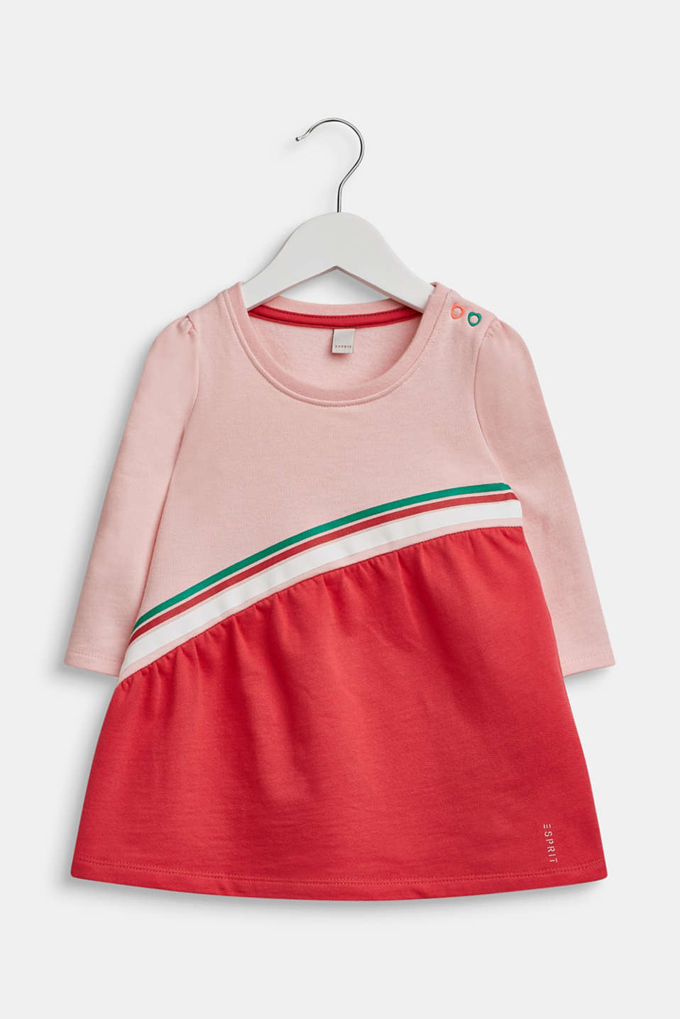 Striped sweatshirt dress, 100% cotton, LCTINTED ROSE, detail image number 0