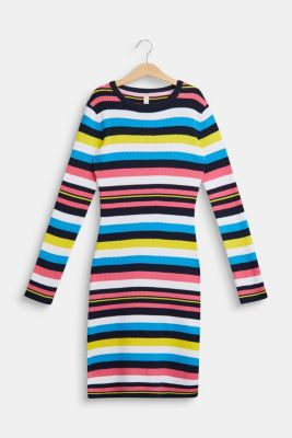 Colourful striped dress in ribbed jersey, LCNAVY, detail