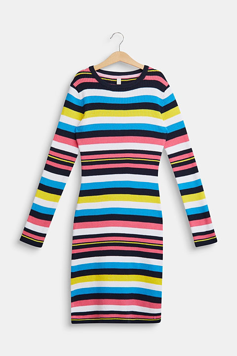 Colourful striped dress in ribbed jersey
