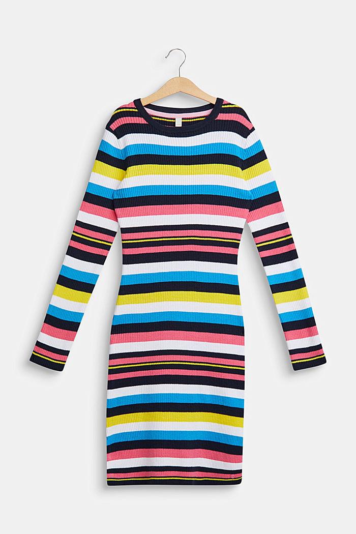 Bunt gestreiftes Kleid aus Ripp-Jersey, LCNAVY, detail image number 0