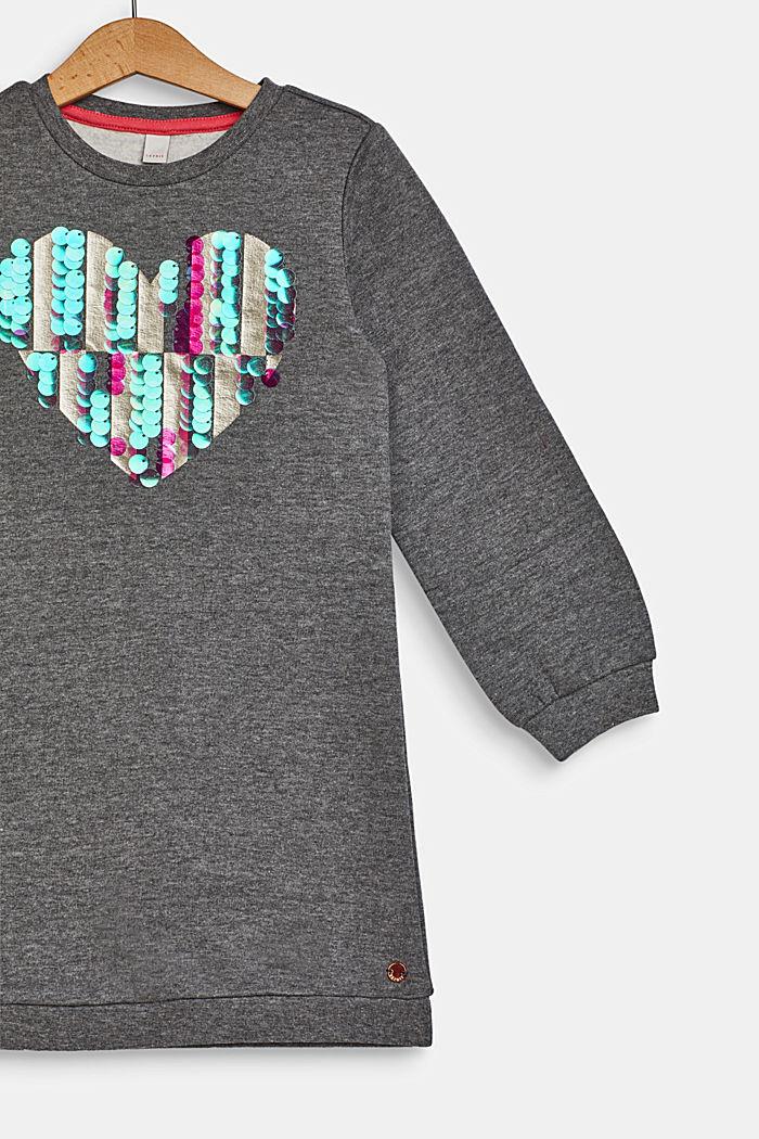 Sweatshirt dress with sequins, 100% cotton, DARK HEATHER G, detail image number 2