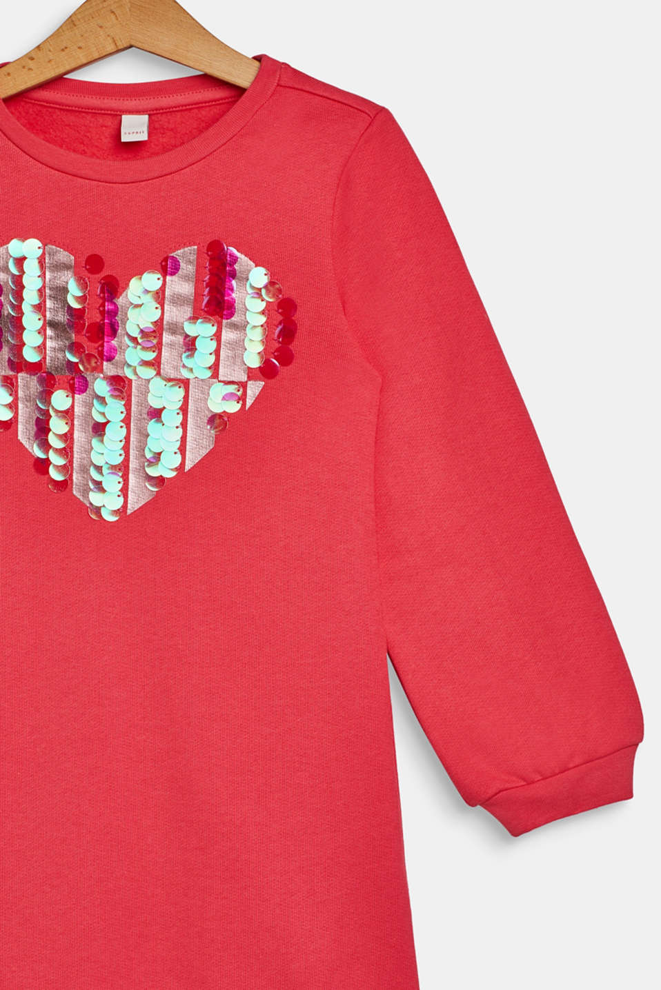 Sweatshirt dress with sequins, 100% cotton, CORAL, detail image number 2