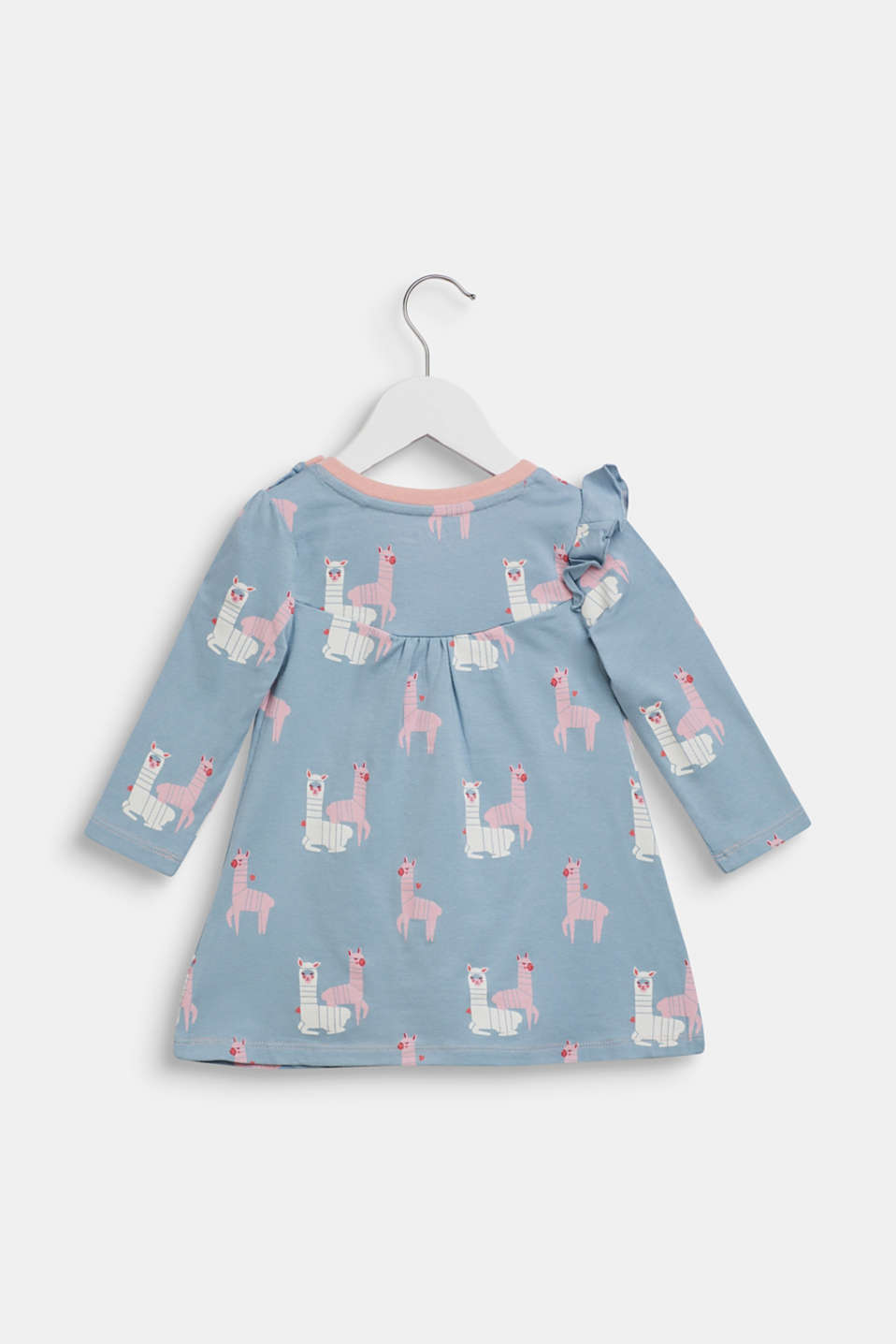 Long sleeve top with a llama print and frills, LCGREY BLUE, detail image number 1