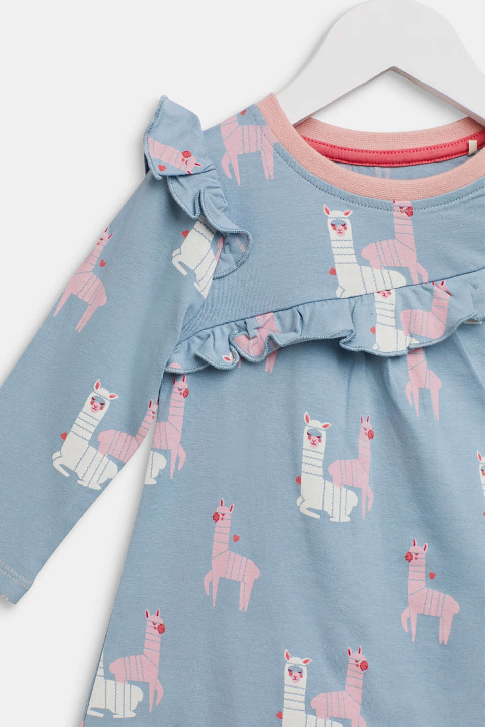 Long sleeve top with a llama print and frills, LCGREY BLUE, detail image number 2