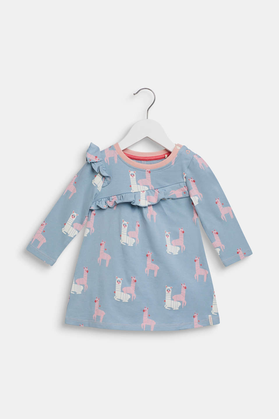 Long sleeve top with a llama print and frills, LCGREY BLUE, detail image number 0