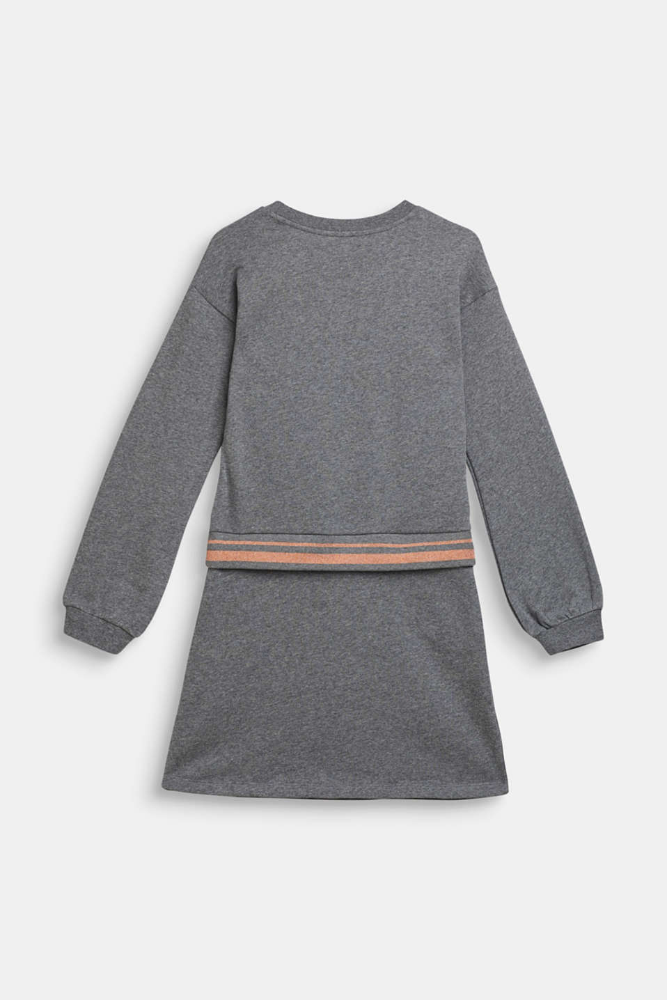 Sweatshirt fabric dress with sparkly borders, 100% cotton, LCDARK HEATHER G, detail image number 1