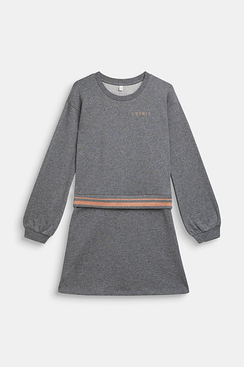 Sweatshirt fabric dress with sparkly borders, 100% cotton