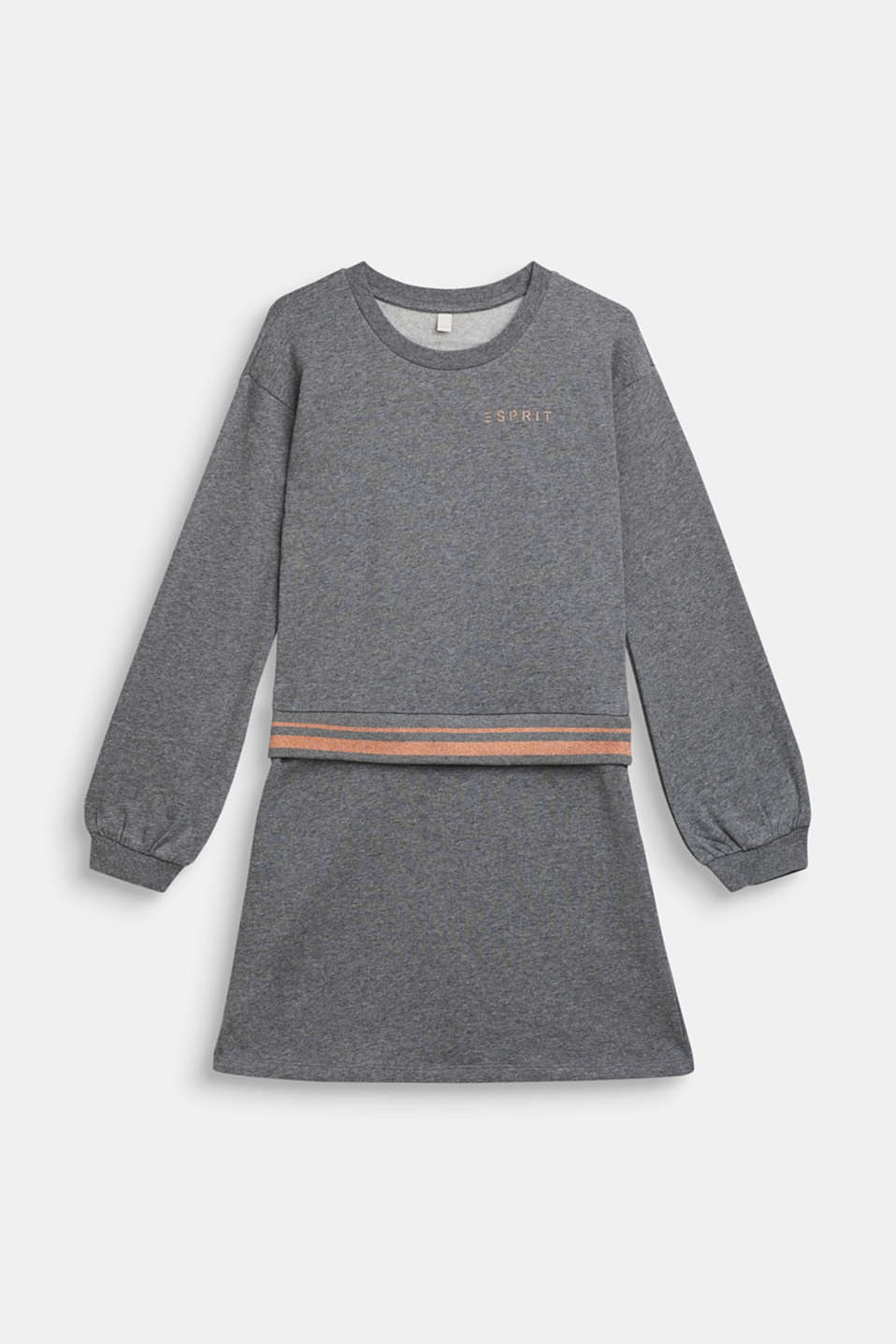 Sweatshirt fabric dress with sparkly borders, 100% cotton, LCDARK HEATHER G, detail image number 0