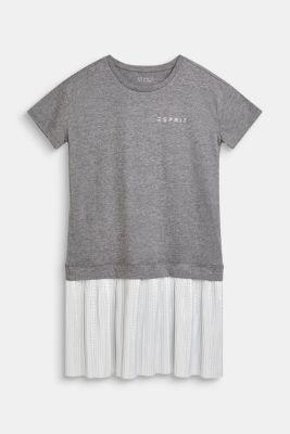 Shirt dress with a shiny plissé skirt, LCDARK HEATHER G, detail