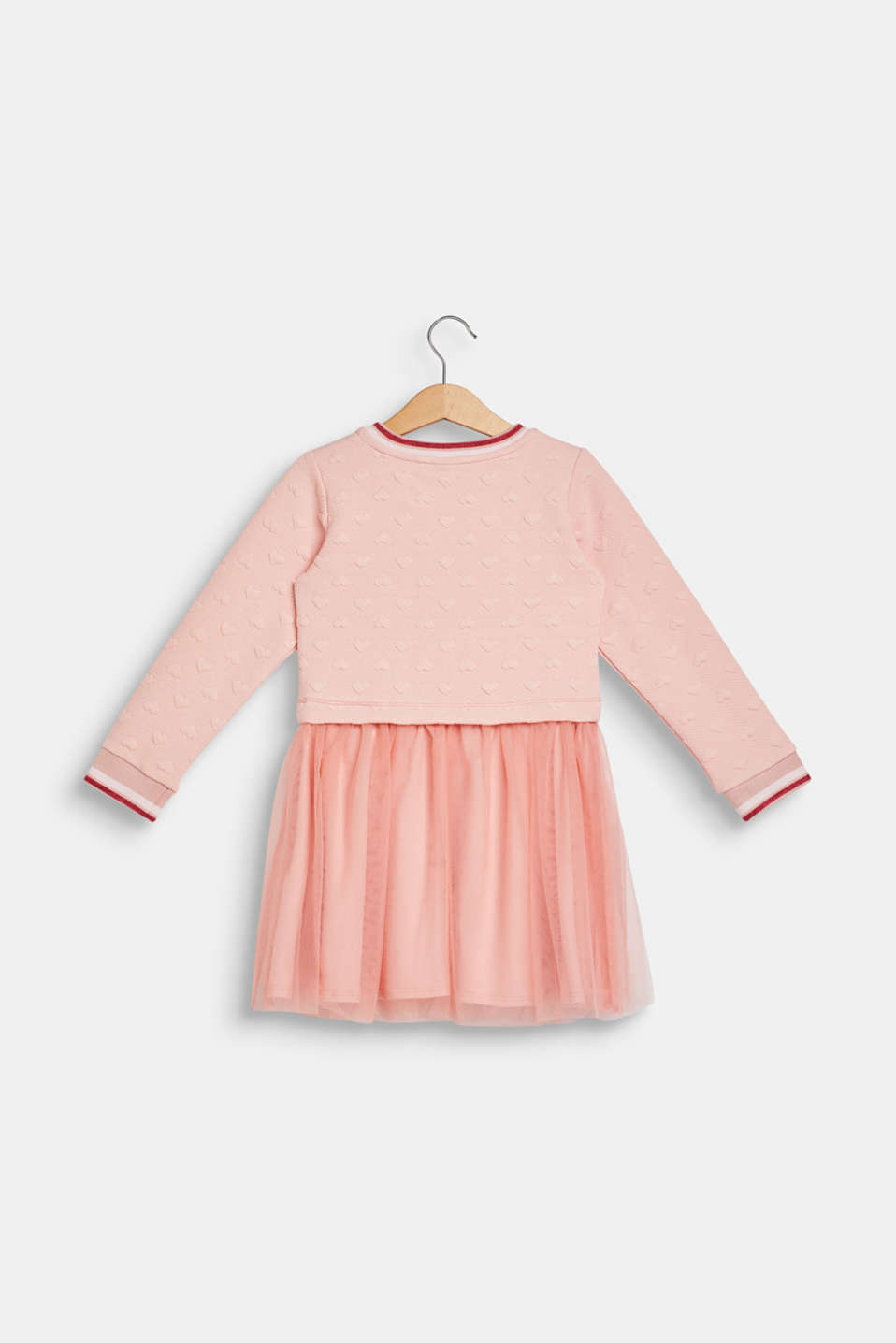 Sweatshirt fabric dress with a mesh skirt, LIGHT BLUSH, detail image number 1