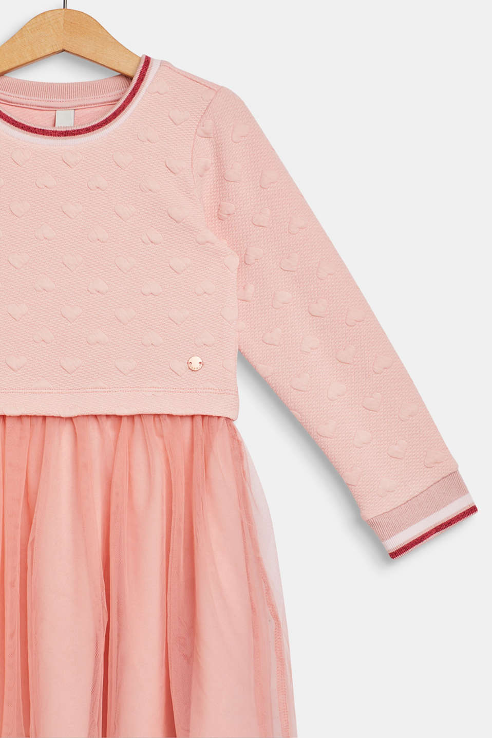 Sweatshirt fabric dress with a mesh skirt, LIGHT BLUSH, detail image number 2