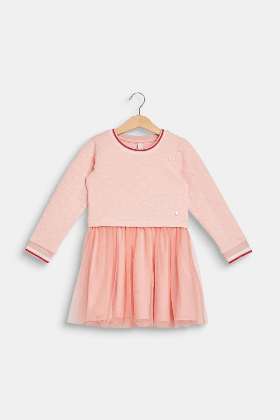 Sweatshirt fabric dress with a mesh skirt, LIGHT BLUSH, detail image number 0
