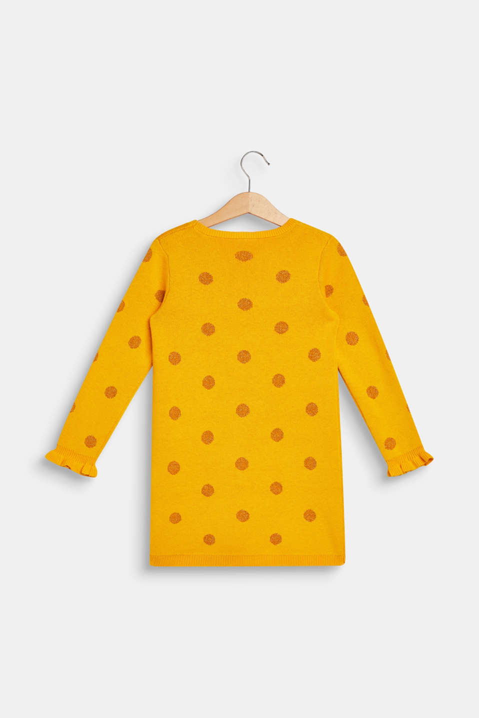 Knitted dress with glittering polka dots, MUSTARD, detail image number 1