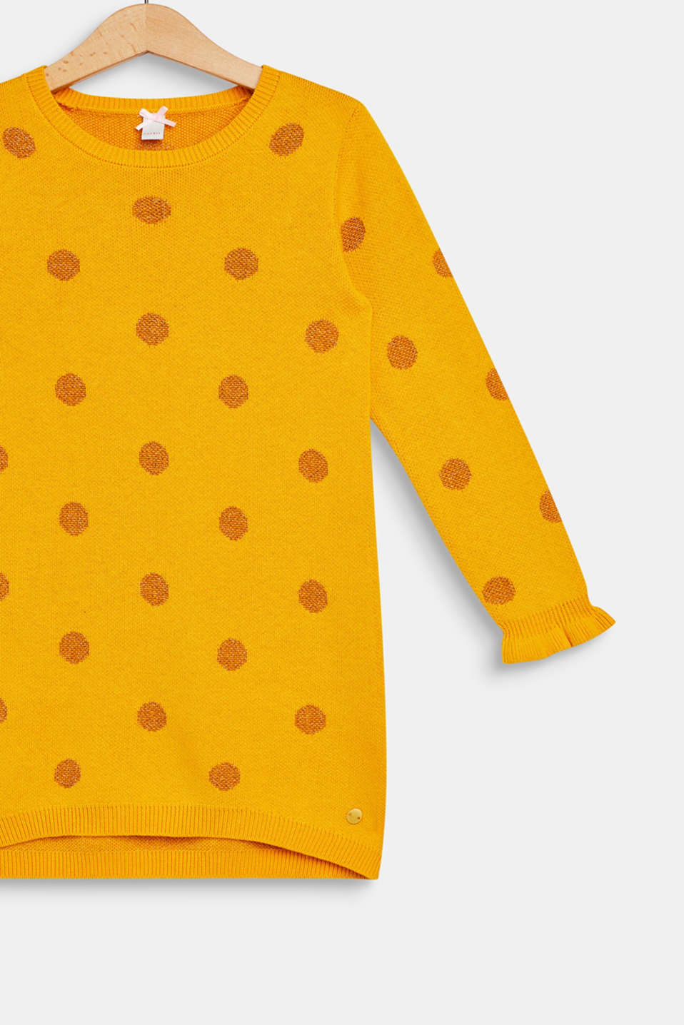 Knitted dress with glittering polka dots, MUSTARD, detail image number 2