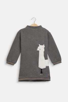Sweatshirt dress with llama appliqué, DARK HEATHER G, detail