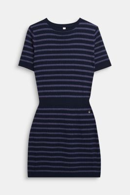 Knit dress with glittering stripes, LCNAVY BLUE, detail