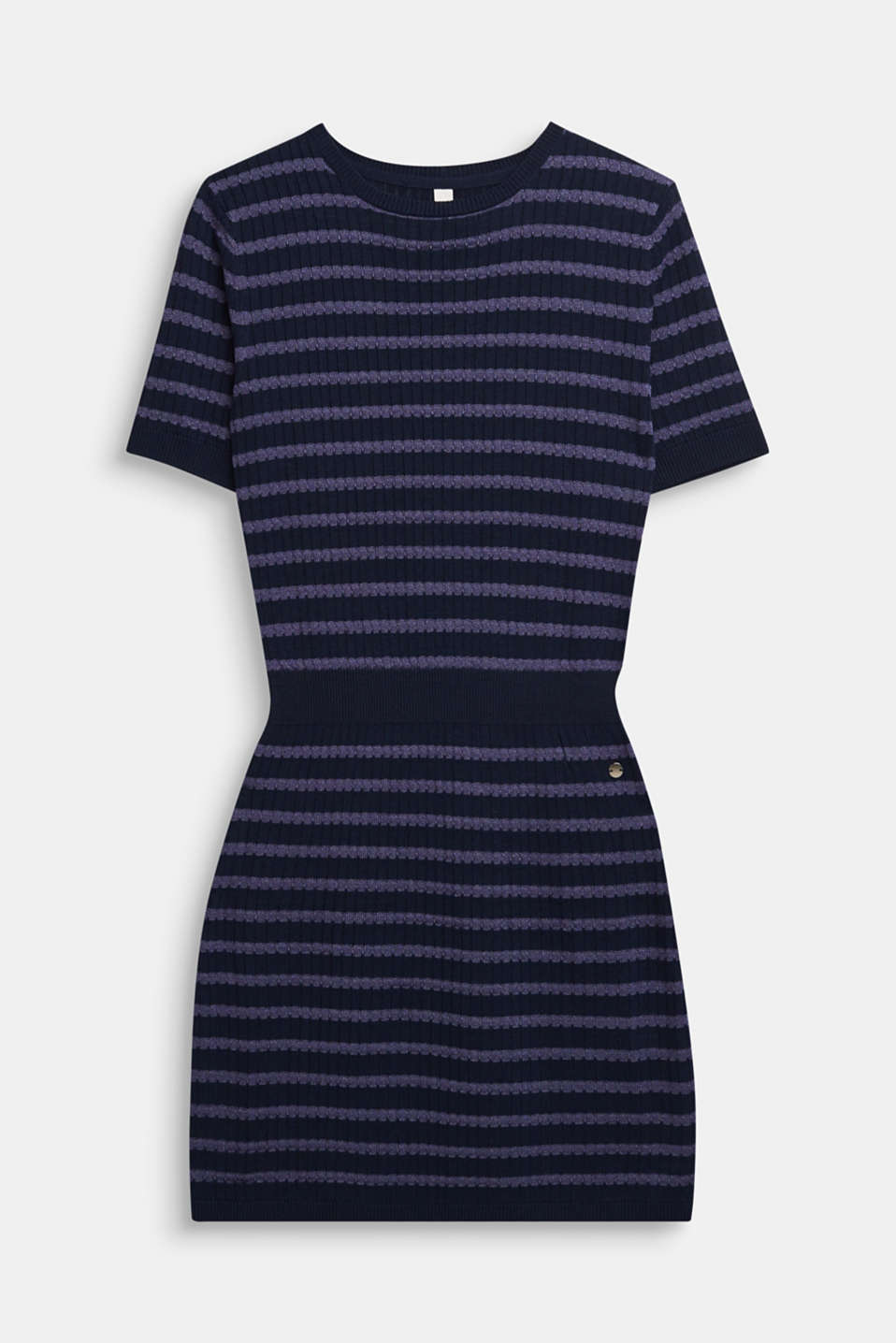 Knit dress with glittering stripes, LCNAVY BLUE, detail image number 0