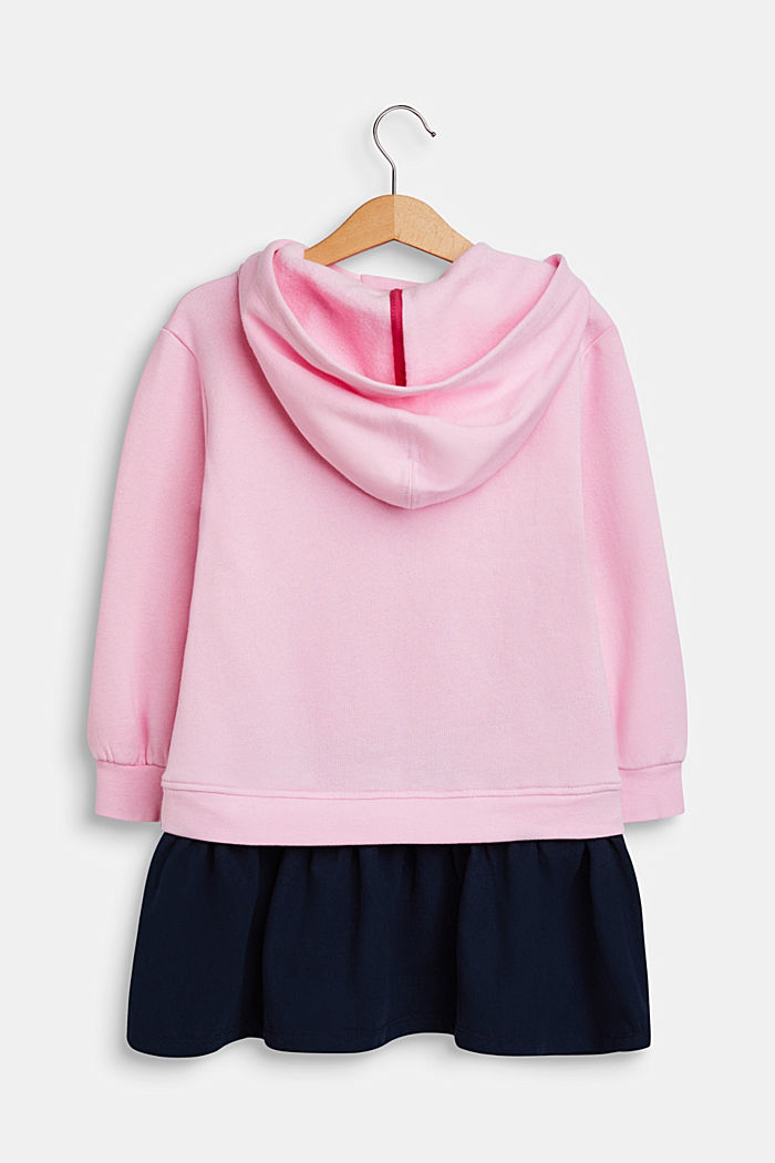 Sweatshirt fabric dress with a print, made of 100% cotton, CANDY PINK, detail image number 1