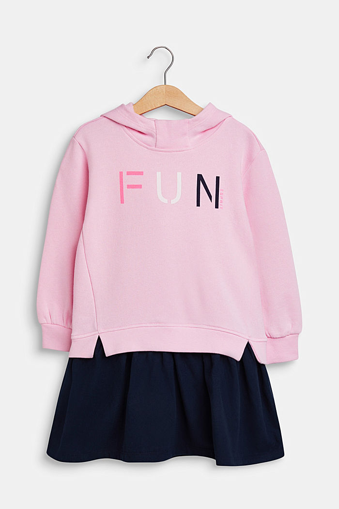 Sweatshirt fabric dress with a print, made of 100% cotton, CANDY PINK, detail image number 0