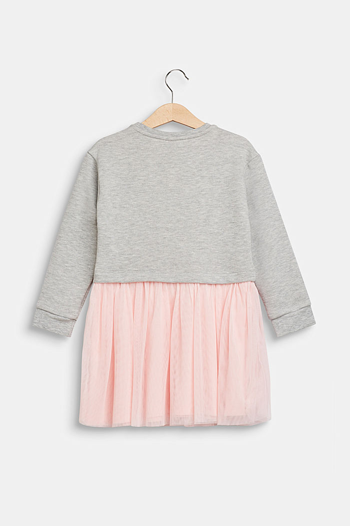 Sweatshirt dress with tulle skirt, HEATHER SILVER, detail image number 1
