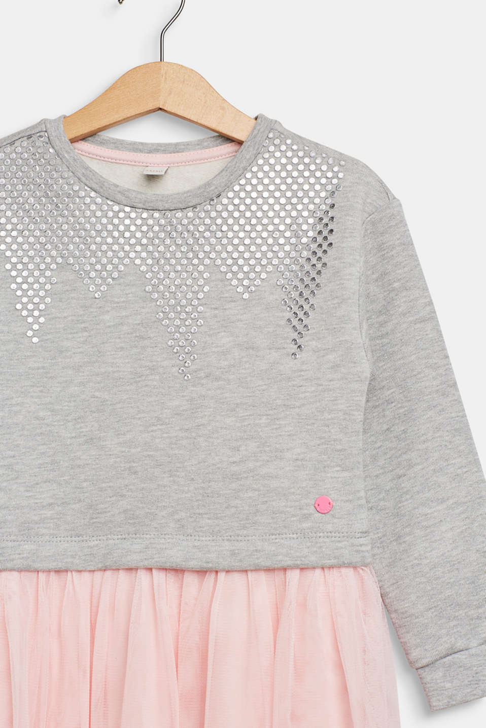 Sweatshirt dress with tulle skirt, HEATHER SILVER, detail image number 2