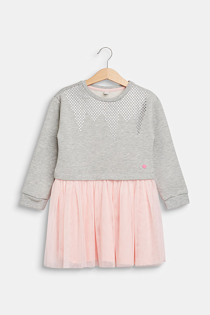 Sweatshirt dress with tulle skirt, HEATHER SILVER, detail image number 0