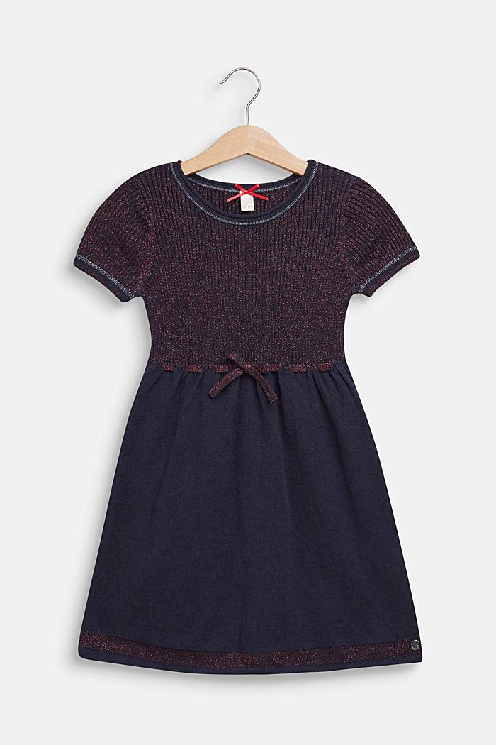 Gebreide jurk met glittereffect, NAVY BLUE, detail image number 0