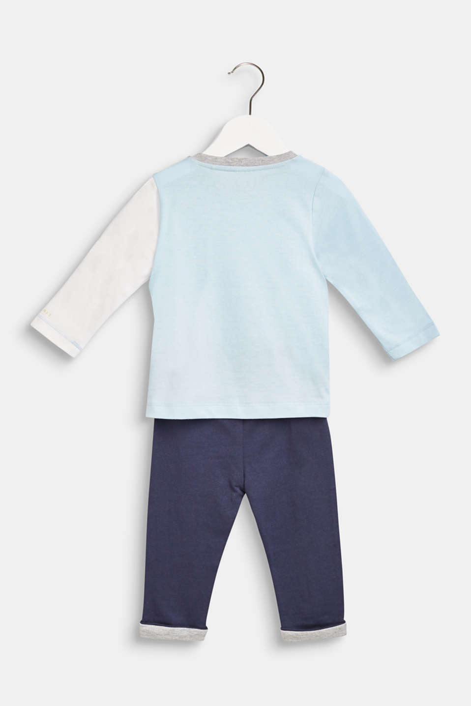 Set: Long sleeve top and trousers, 100% cotton, LCICE BLUE, detail image number 1