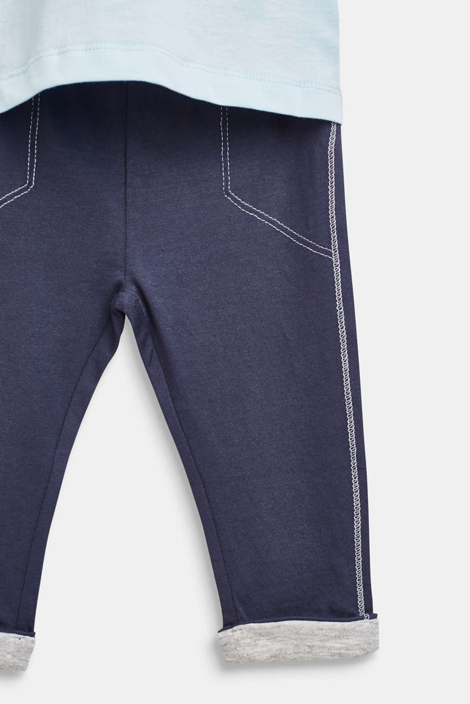 Set: Long sleeve top and trousers, 100% cotton, LCICE BLUE, detail image number 3