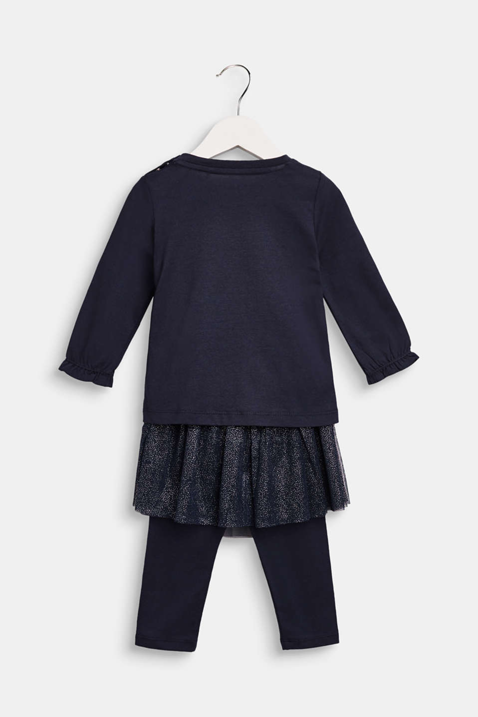 Top and trousers set with a tulle trim, LCNAVY BLUE, detail image number 1