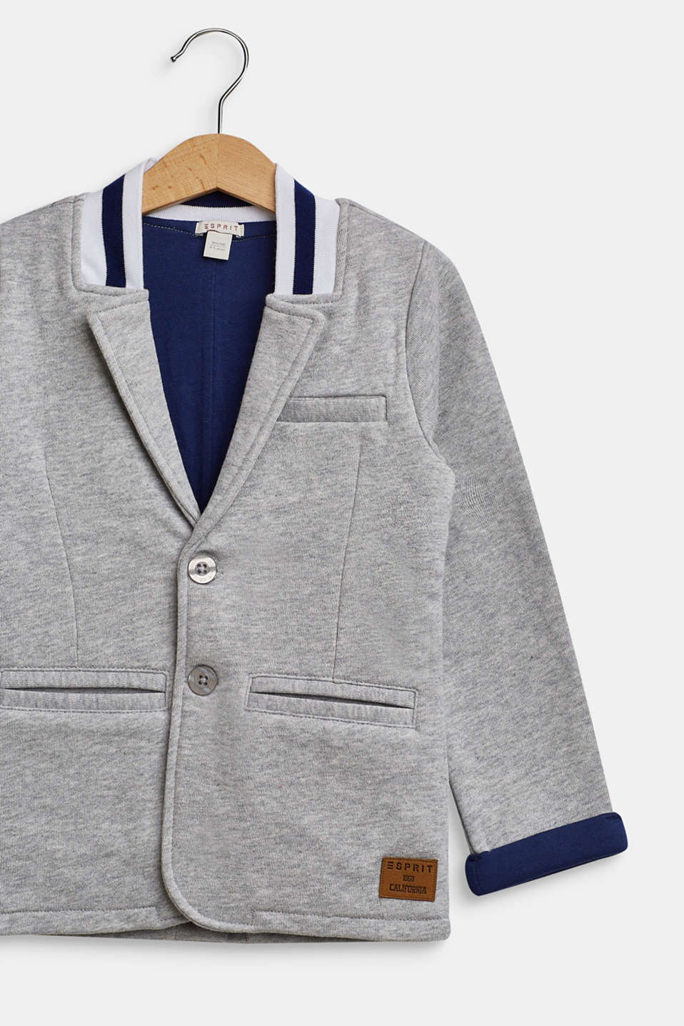 Jersey blazer with a college collar, HEATHER SILVER, detail image number 3