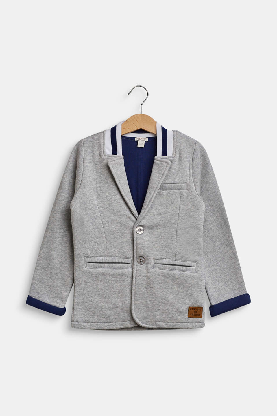 Jersey blazer with a college collar, HEATHER SILVER, detail image number 0