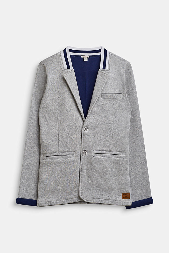 Jersey blazer with a college collar, LCHEATHER SILVER, detail image number 0